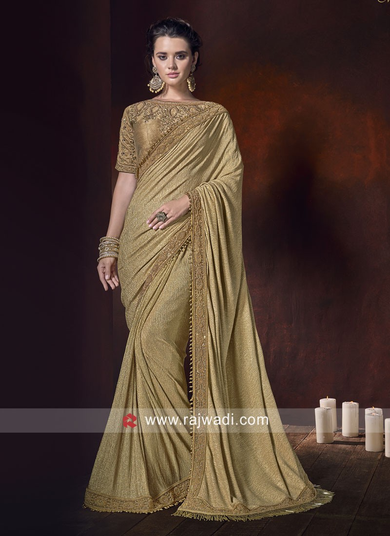 Lycra Shimmer Saree with Raw Silk Blouse