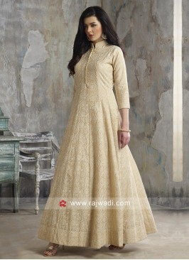 Shimmer Silk Cream Anarkali Suit