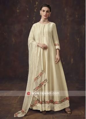 Shimmer Silk Cream Anarkali Suit