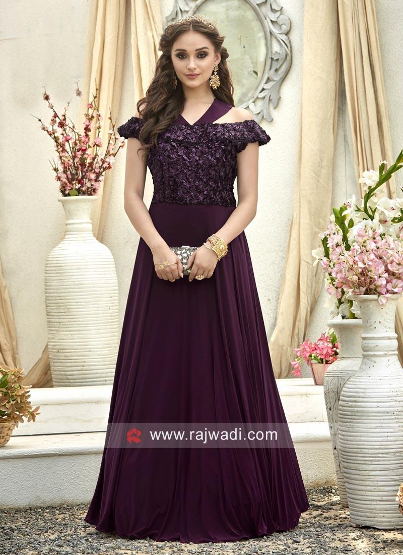 Shimmer Silk Designer Cold Shoulder Gown