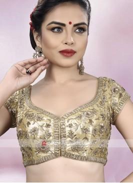 Shimmer Silk Golden Ready Choli