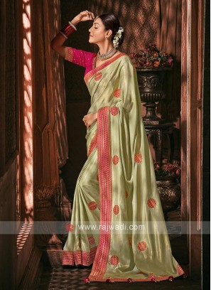 Shimmer Silk Light Pista Green Color Saree