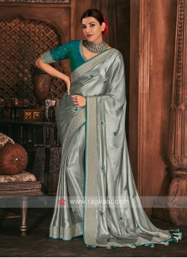 Shimmer Silk Grey Color Saree
