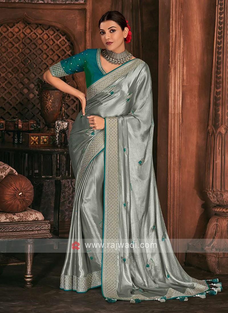 Shimmer Silk Grey Color Saree