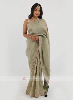 Shimmer Silk Olive Green Saree.