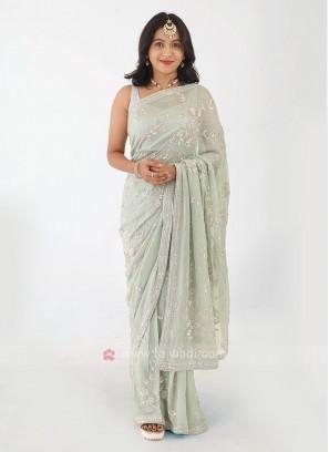 Shimmer Silk Pista Green Saree