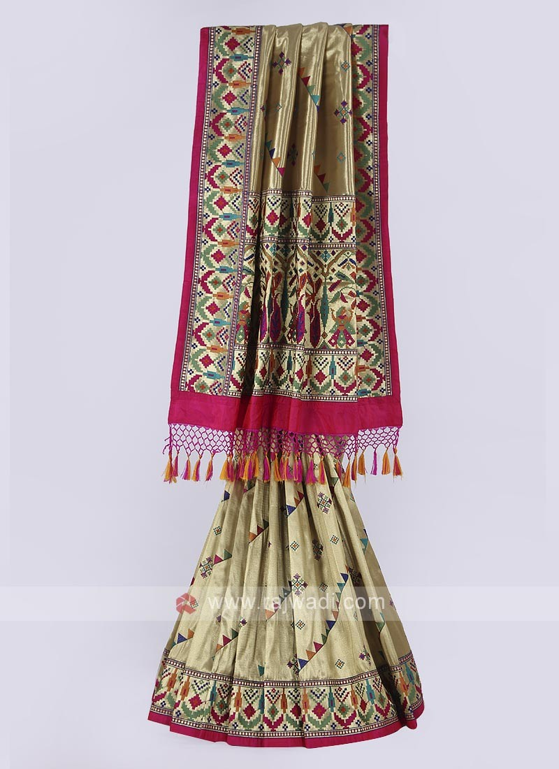 Shimmer silk saree in golden color