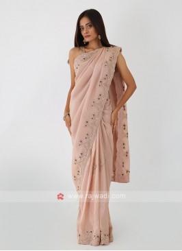 Shimmer Silk Saree In Rose Gold