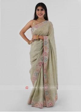 Shimmer Silk Saree With Gota Patti Work