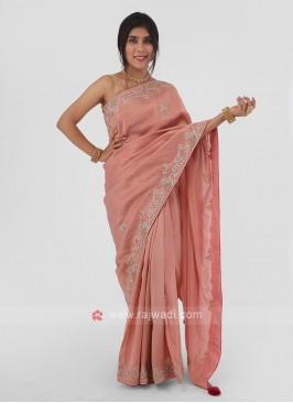Shimmer Silk Zardosi Work Saree