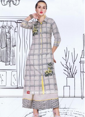 Short Long Checks Print Kurti