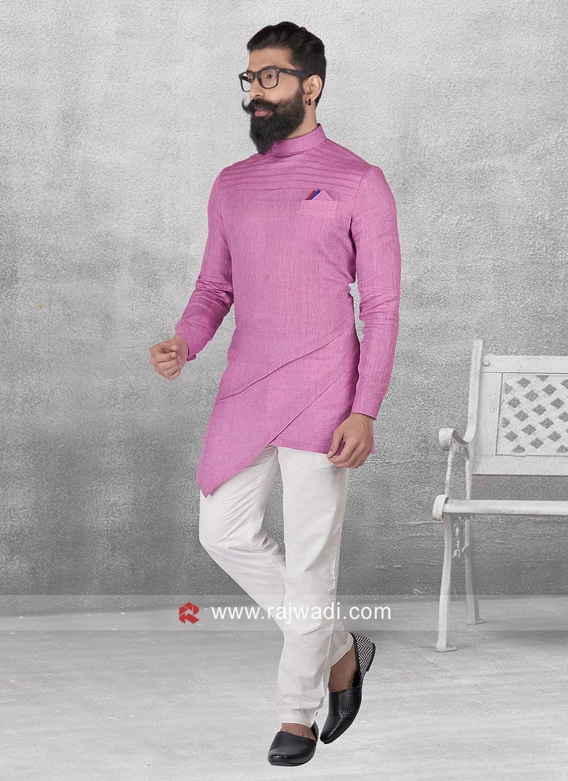 Side Layered Pink Color Pathani Suit