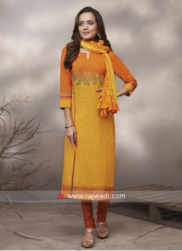 Side Slit Churidar Suit in Cotton