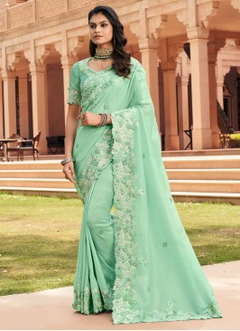 Sightly Embroidered Georgette Sea Green Traditional Saree