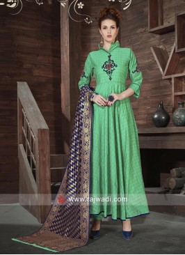 Silk Anarkali Dress in Sea Green