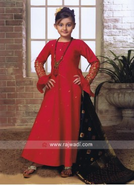 Silk Anarkali Salwar Kameez for Girls