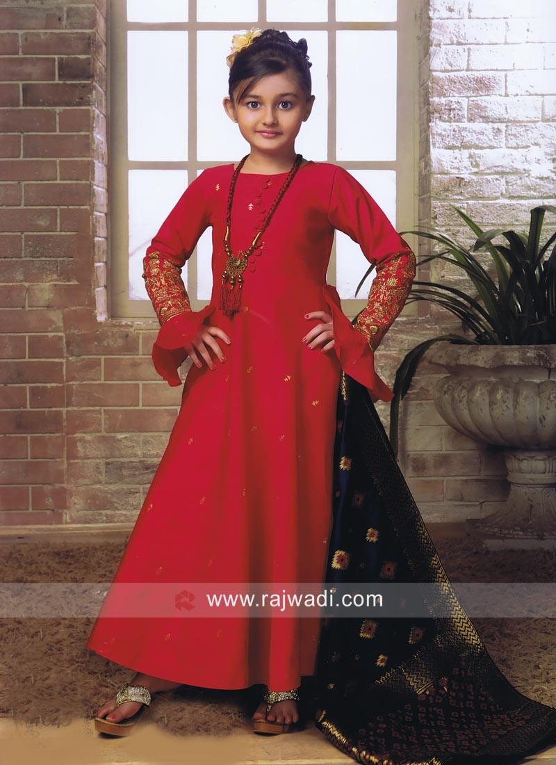 Silk Anarkali Salwar Kameez for Girls