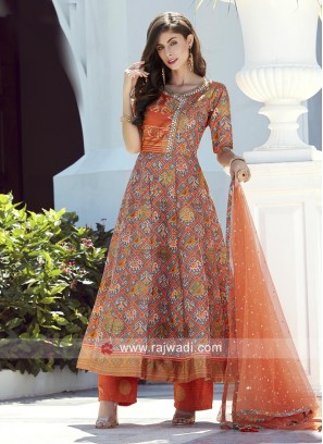 Silk Anarkali Salwar Kameez with Dupatta