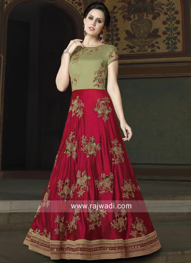Silk Anarkali Semi Stitched Salwar Suit