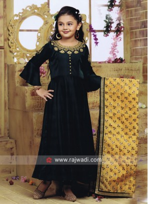 Silk Anarkali Suit in Green for Girls