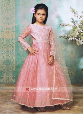 Silk Anarkali Suit in Light Pink