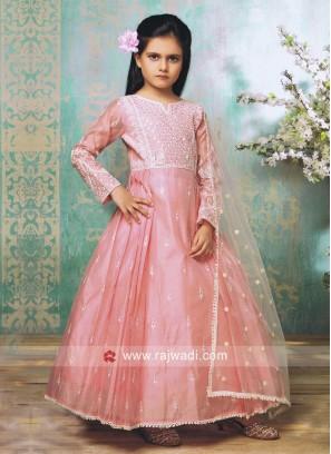 Silk Anarkali Suit in Light Pink