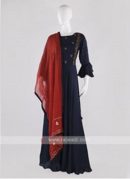 silk anarkali suit in navy blue