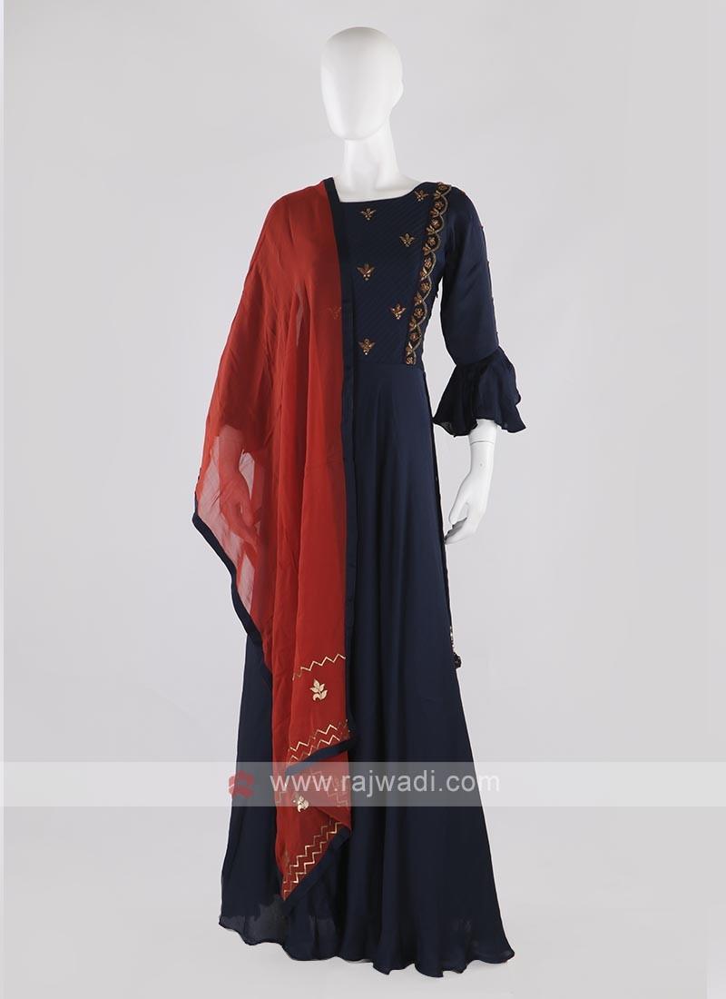 silk anarkali suit in navy blue