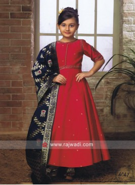 Silk Anarkali Suit with Contrast Dupatta