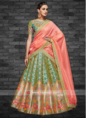 Silk and Brocade floral Weaved Lehenga