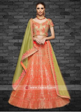 Silk and Brocade Lehenga Choli with Dupatta