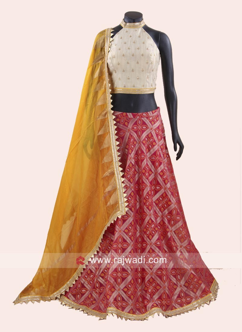 81bc6d69a35d36 Silk and Brocade Lehenga Set. Hover to zoom