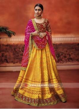 Wedding Lehenga Set with Bandhani Dupatta