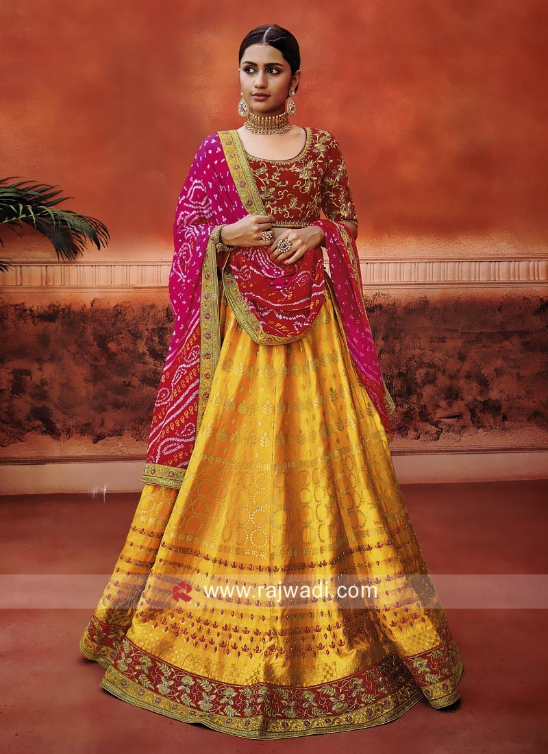 Wedding Lehenga Set with Bandhani Dupatta