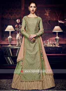 Silk and Chiffon Double Layered Salwar Kameez