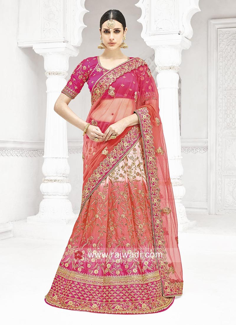 Silk and Net Festive Wear Lehenga Saree