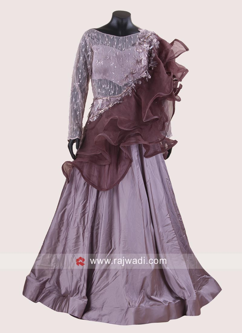 silk and Net Frilled Layer Designer Gown