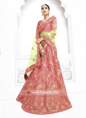 Silk and Net Heavy Lehenga Saree