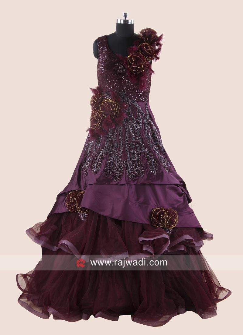 Silk and Net Multi Layer Gown