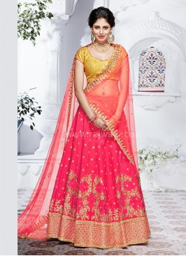 Silk and Net Two Tone Lehenga Saree