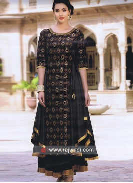 Silk Asymmetrical Kurti with Golden Lace
