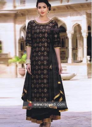 Silk Asymmetrical Kurti with Golden Lace