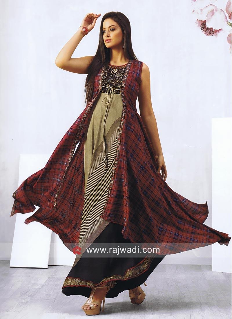 Silk Asymmetrical Stitched Kurti