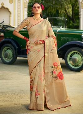 Silk Beige Classic Designer Saree