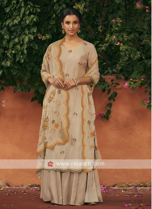 Silk dress material in beige color