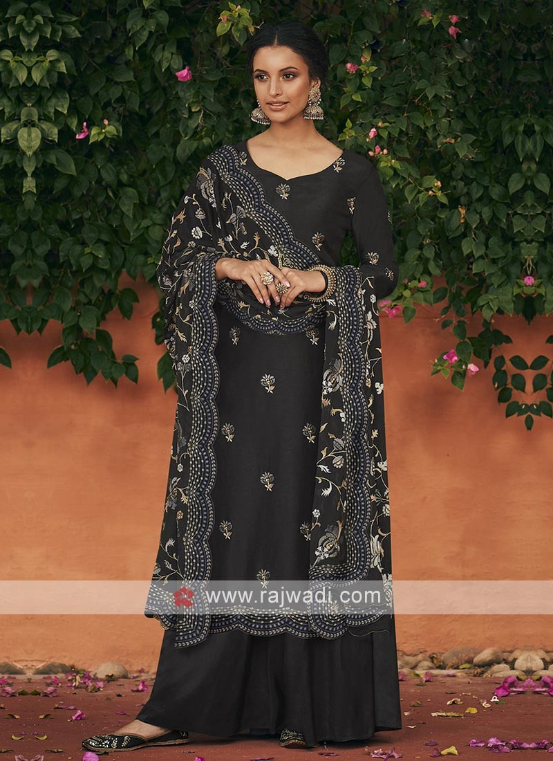 Silk dress material in black color