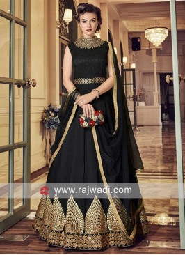 Silk Black Heavy Salwar Kameez