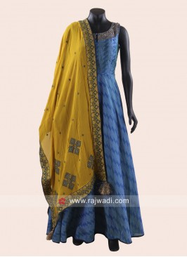 Blue Anarkali Dress with Mustard Yellow Dupatta
