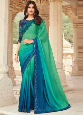 Silk Blue and Sea Green Embroidered Shaded Saree