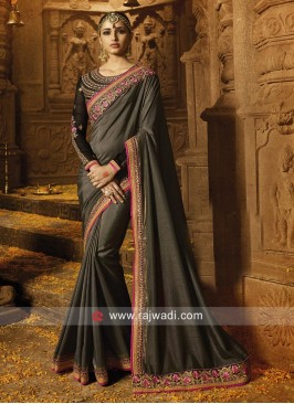 Silk Border Work Saree in Grey